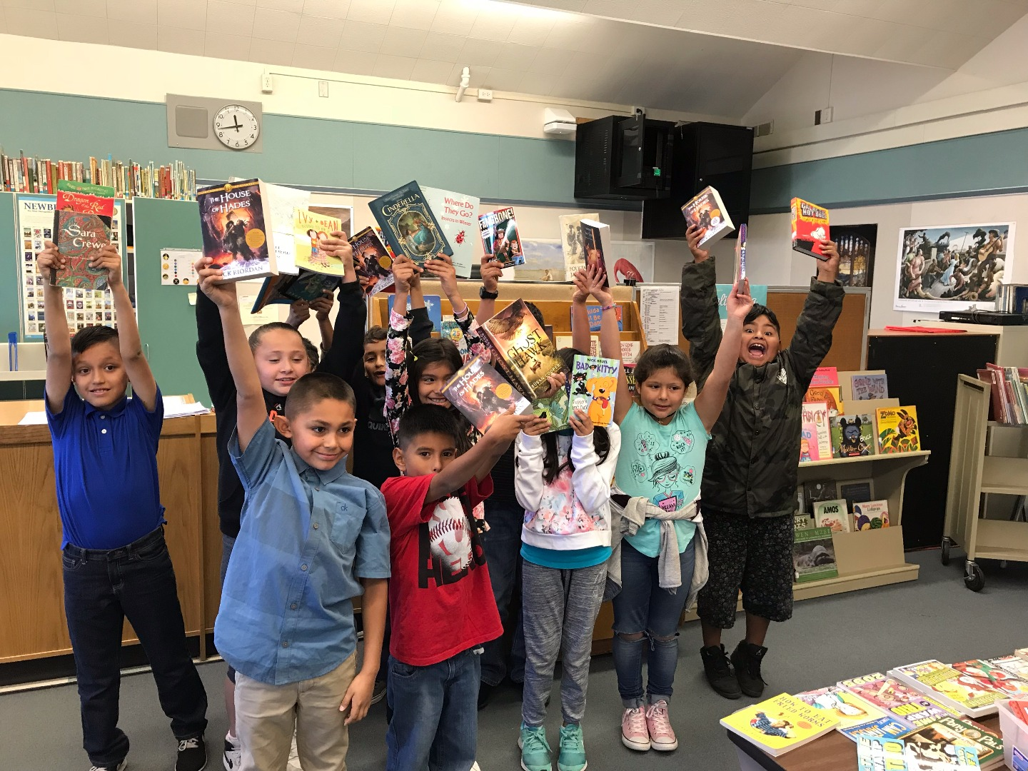 Freedom students with books